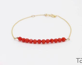 Red Coral Bracelet, 14k Gold Bracelet, Gold Coral Bracelet, 14k Solid Gold, Gem Bracelet, Chain Bracelet, Birthday Gift, Passion Gift