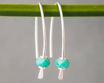 FREE SHIPPING Australia Earrings Sterling Silver. Czech Glass. Modern Boho Minimalist. Reclaimed Eco Contemporary Everyday.