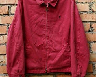 Rare!!! Polo Ralph Lauren Small Pony Zip Jacket Cotton