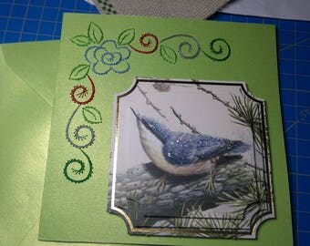 3D 733 and embroidered greeting card