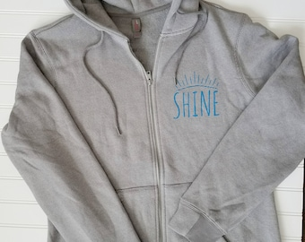 SHINE Gray Zip-Up Hoodie