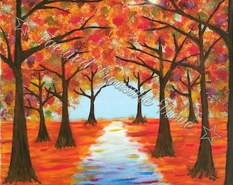 Autumn Woods Walk - Original Art Print