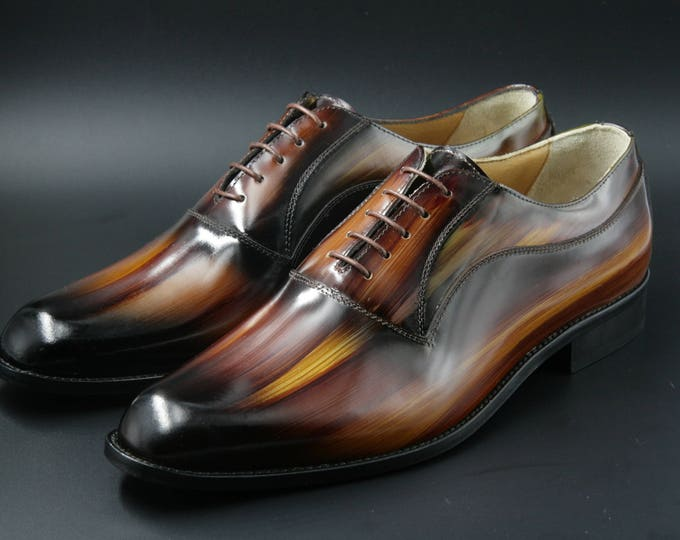 Leather man patina shoes, wood, warm brown, Oxford, hand painted (made in Italy)
