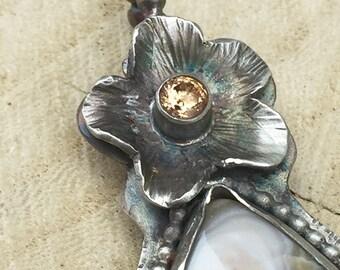 Walk in Beauty Ocean Jasper Flower Pendant