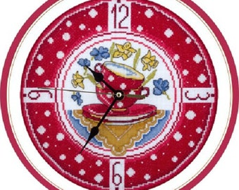 Counted Cross Stitch Kit Clock for cozy cuisine CH-1581