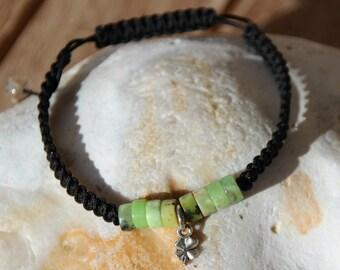Bracelet with chrysoprase beads nylon thread
