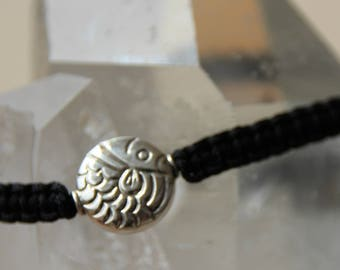 shamballa bracelet with silver fish beads