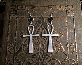 Ankh earrings // silver ankh earrings // large ankh earrings // cross earrings // gothic earrings