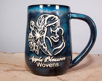Apple Blossom Wovens handmade coffee pottery mug