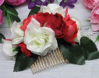 Flower bridal hair Flower comb Bride rustic clip Flower boho comb Red flower girl Bride hairpiece Floral bridal boho Bride comb wedding