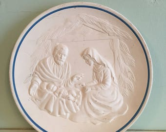 A Stunning Vintage Nativity Scene Porcelain Plate, Made in Spain and Stamped