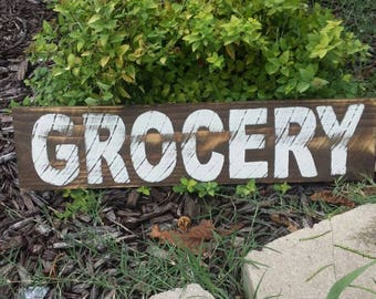 "Grocery Rustic Sign 23"" Long Farmhouse Kitchen Sign Fixer Upper Magnolia Market Style"