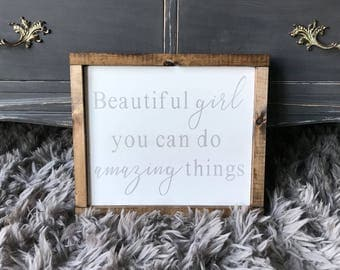 Beautiful Girl You Can Do Amazing Things Wood Sign / Beautiful Girl You Can Do Amazing Things Wood Sign / Nursery Signs / Baby Boy /