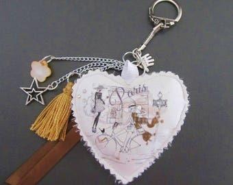 golden brown orange Paris heart Keyring / bag charm
