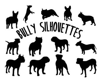 Bully Breed Dog Silhouettes Clipart Dog Vector Art For Personal & Commercial Use Formats: ai svg eps jpg png Instant Download