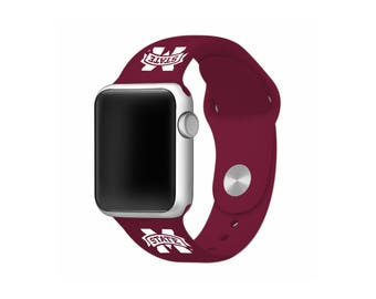WATCH BAND ONLY - Mississippi State University Bulldogs Silicone Sport Band Fits Apple Watch™ - Officially Licensed
