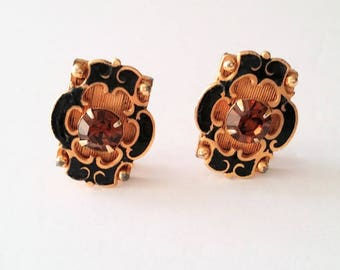 Gold tone Spanish lace enamel clip on earrings