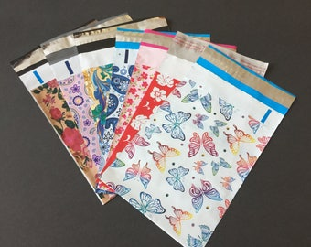 100 YOU CHOOSE 6x9 Designer Mailers Butterflies Little Red Flowers Hibiscus Roses Paisley Shipping Bags Poly Mailers