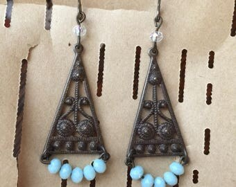Antiqued Brass and Sky Blue Earrings