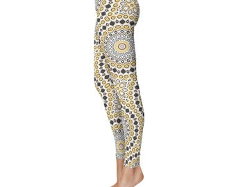 Modern Leggings - Stretchy Leggings, Black and Yellow Mandala Pattern Yoga Pants, Fashion Tights, Creative Clothing