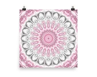 Home Decor Gray and Pink Mandala Art Prints, Boho Wall Art, Mandala Poster