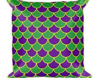 Mardi Gras Decorations, Mardi Gras Party, Throw Pillow, Purple and Green Mermaid Scales Cushion
