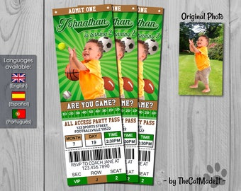 Sports Ticket Invitation - Sports Invite - Football Birthday Party - Baseball, Tennis, Basketball and Soccer Digital Tickets