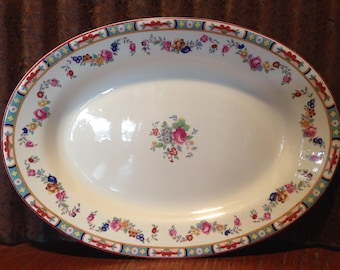 "George Jones, Crescent & Sons Ivory, ""The Rosedale""- 12""Platter, Made in England"