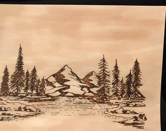 Mountain Scene on Paper