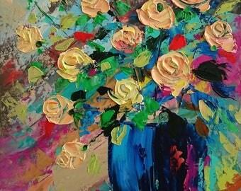 Cream little roses; Palette knife oil painting; framed