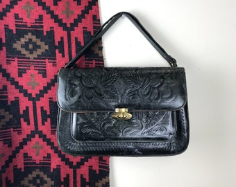 Vintage Black Tooled Leather Handbag Southwest Style Made in Mexico