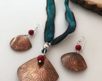 Bohemian Handcrafted Etched Copper Necklace & Earrings Set; Artisan Coral Copper Jewelry Set
