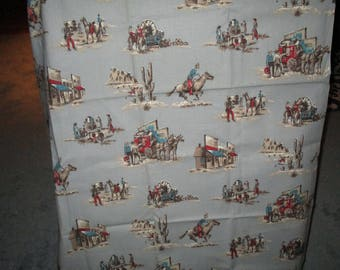 Western vintage fabric. cowboys,horses,saloon,Barkcloth used