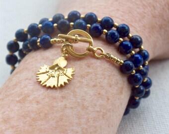 Lapis lazuli bracelet, Blue lapis bracelet, Gold toggle necklace, Ancient egyptian jewelry, Byzantine necklace, Roman jewelry, Flower charm