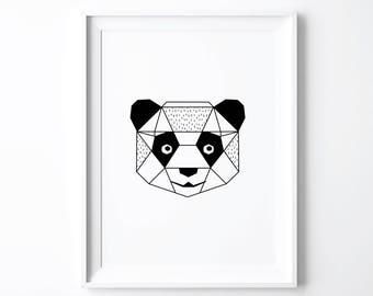 Panda Print, Art Prints, Origami Panda Nursery Decor, Black White Kids Room, Gender Neutral Nursery, Cute Animals Baby Shower Gift, Wall Art