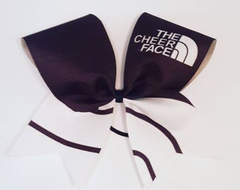 The Cheer Face Cheer Bow - 3 Inch Texas Sized - Cheer Party - Theme Practice - Birthday Gift - Ponytail Accessory