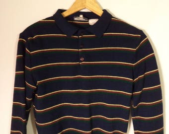 70s striped sweater// Navy blue Romania collar pullover// Vintage Gateway// Men's size small S to medium M