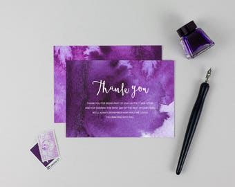 Purple Watercolour Wedding Thank You Card // DIY Printable Invitations