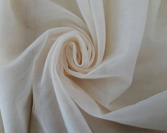 1/2 meter  - Light Champagne Color Oyster Color Soft silk tulle fabric silk like fabric  - 2.85 METERS WIDTH