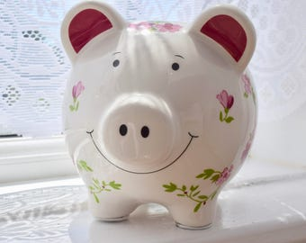 Floral Smiling Ceramic Piggy Bank