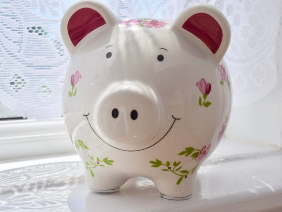 Floral, Smiling Piggy Bank, Ceramic, Money Box, Savings Bank, shabby chic- esque, birthday, wedding, housewarming gift