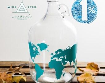 LID INCLUDED:Travel Jar Money Jar Adventure Fund Travel Explore Save Money Coins World Map Wander Wanderer Passport Gift Piggy Bank Change
