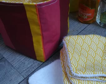 "12 pretty wipes/cotton washable and their ""Sun and vitamins"" basket"