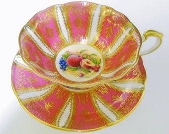 Paragon fruit art deco Tea cup and saucer, Gold Orchard Fruit tea cup, feather gilt Frilly round tea cup, hot pink tea cup