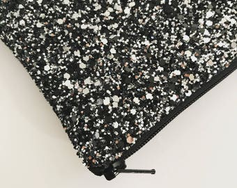 Starry Sky black and silver Glitter bag, glitter purse make up bag, evening clutch, black and silver evening bag