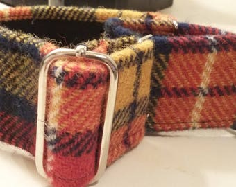Harris Tweed Martingale collar  Greyhound Whippet