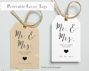 Printable wedding favor tags, Mr and mrs, printable gift favor tag, wedding bonbon favor tags, confectionery gift tag, wedding favor tags