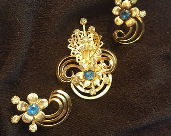 Vintage Gold Vermeil Brooch and Earring Set