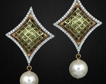 Gold Plated Peridot and pearls Earrings with Cz