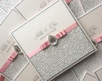Dusky Pink & Silver Wedding Invitation / Pink Wedding Invite / Dusky Pink Invitations / Glitter Invitations